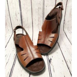 Clarks Springers Brown Leather Open Toe Sandal 10M